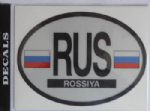 Russia Country Flag Oval Decal.